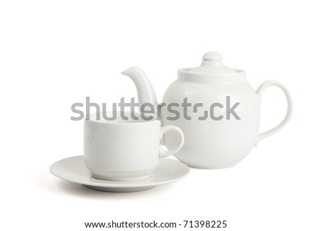 cup and the teapot is isolated on a white background