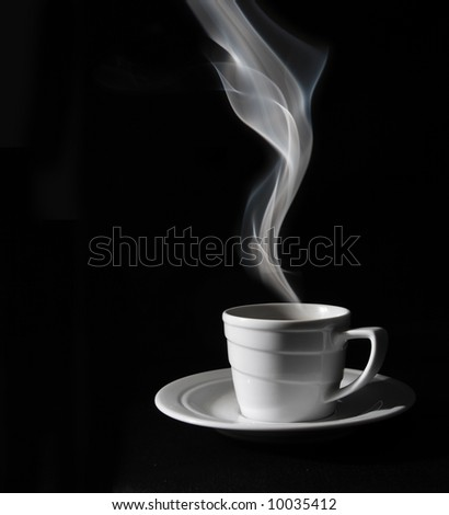 Cup black coffee, steam - stock photo