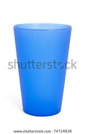 Cup, Blue plastic on white background. with clipping path original shadow not included.