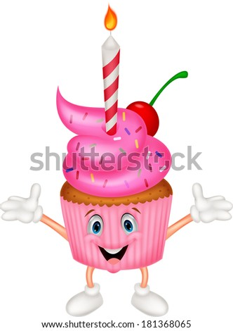 Cup cake cartoon with candle - stock photo