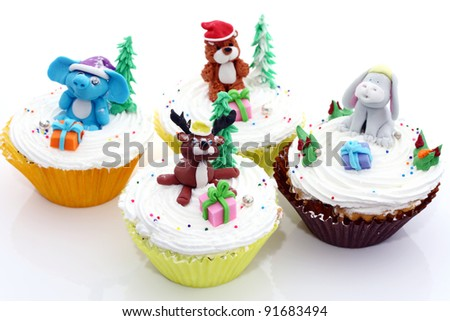 Cup cake cute animals - stock photo