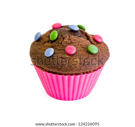 cup cake of chocolate with color candies - stock photo