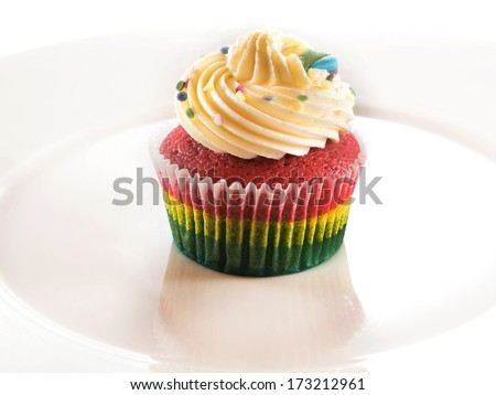 cup cake rainbow - stock photo