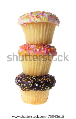 Cup Cakes on White Background - stock photo