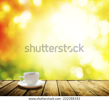 cup coffee and autumn forest - stock photo