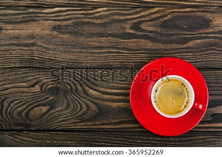 Cup Coffee on old wood background - stock photo