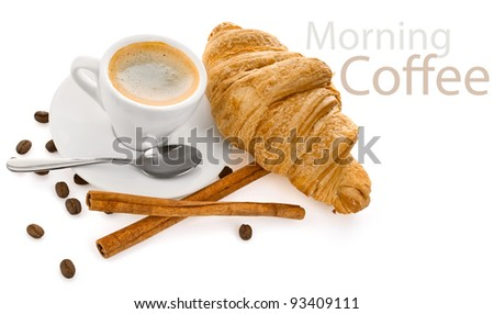 cup coffee on saucer with and tableware isolated white background - stock photo