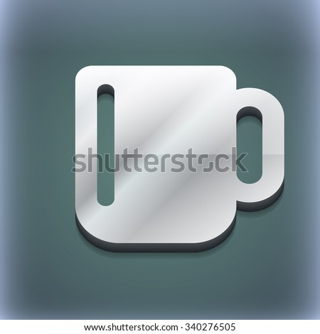 cup coffee or tea icon symbol. 3D style. Trendy, modern design with space for your text illustration. Raster version - stock photo