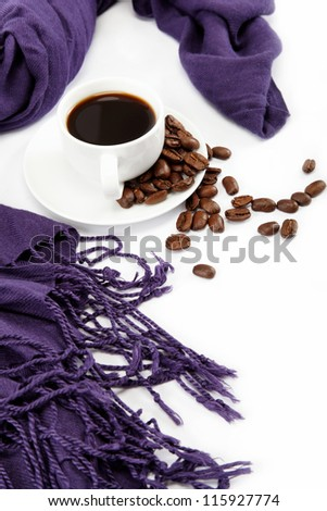 Cup coffee with coffee beans, isolated on white background.