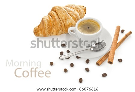 cup coffee with croissant isolated on white background - stock photo