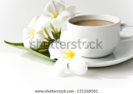 Cup coffee with milk - stock photo