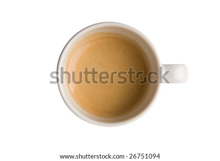 Cup filled with Espresso top view isolated on white with clipping path