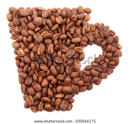 Cup from coffee grains. Abstract composition - stock photo