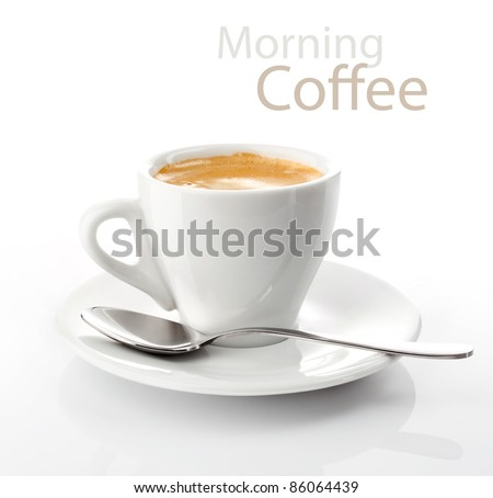 cup morning coffee on saucer - stock photo
