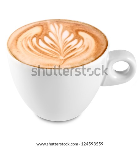 Cup of art latte on a cappuccino coffee isolated on white - stock photo
