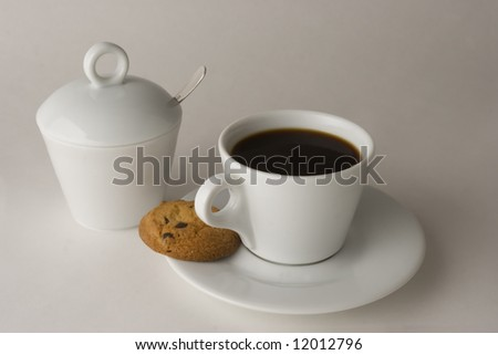 Cup of black coffee and cookies, isolated, clipping path included