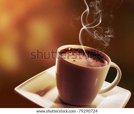Cup of black coffee on dark background - stock photo