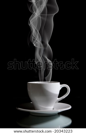 Cup of black coffee on the black background - stock photo