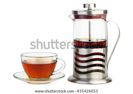 Cup of black tea and french press isolated on white background - stock photo