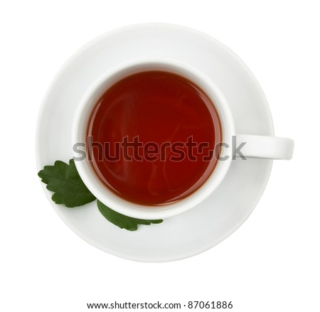 Cup of black tea. Isolated on white background - stock photo
