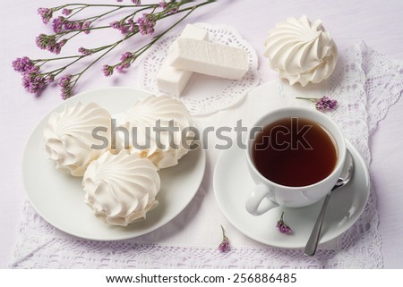 cup of black tea with black tea marshmallows cup of black tea with ...