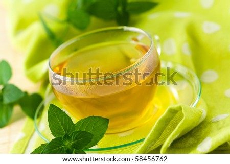 Cup of brown tea on the saucer with mint - stock photo