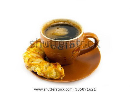 cup of cappuccino and cookies on a white background - stock photo