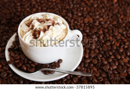 Cup of cappuccino over the coffee beans