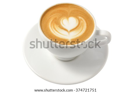 cup of cappuccino with foam in the form of heart (isolated on white) - stock photo