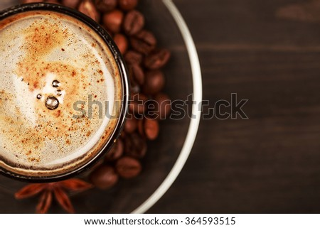 Cup of cappucino with foam, closeup. - stock photo