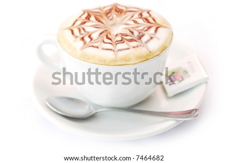 Cup of capuccino on white background
