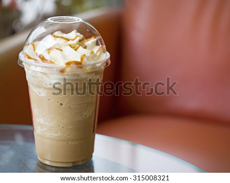 Cup of Caramel Frappuchino Coffee