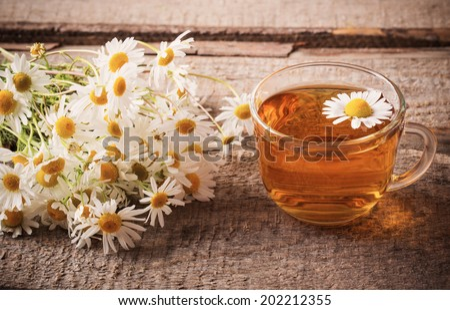 cup of chamomile tea - stock photo