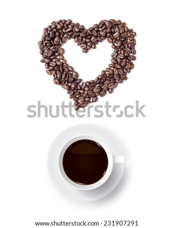 Cup of coffee and abstract heart of coffee beans on white background. - stock photo