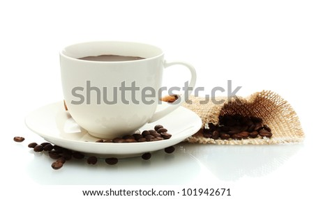 cup of coffee and beans isolated on white - stock photo