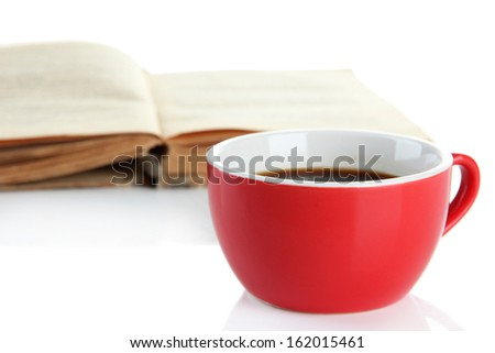 Cup of coffee and book isolated on white - stock photo