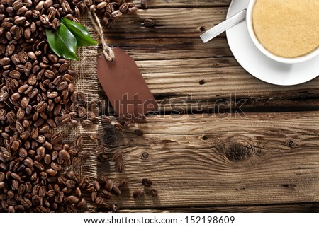 cup of coffee and brown paper  - stock photo