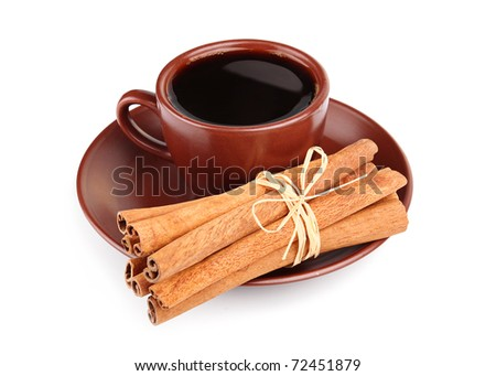 Cup of coffee and bunch of cinnamon isolated on white background - stock photo