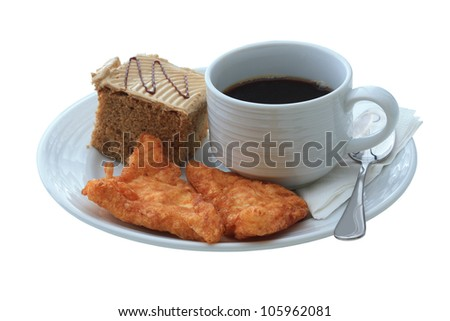 Cup of coffee and cake, Isolate on white background with clipping paths ready to use. - stock photo