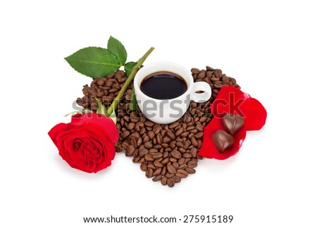 cup of coffee and chocolates isolated on white background - stock photo