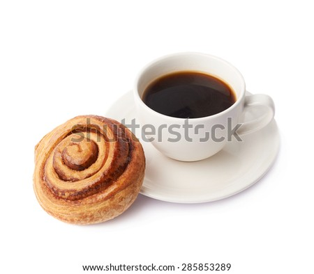 Cup of coffee and cinnamon roll bun pastry composition isolated over the white background - stock photo