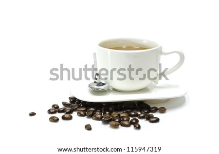 Cup of coffee and coffee beans , isolated on white background - stock photo