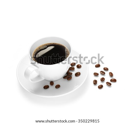 Cup of coffee and coffee beans isolated on white background - stock photo
