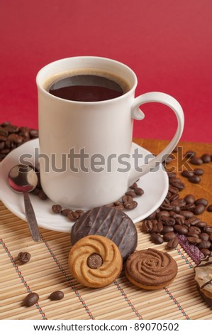cup of coffee and cookies - stock photo