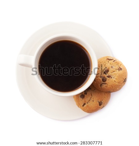 Cup of coffee and cookies composition isolated over the white background - stock photo