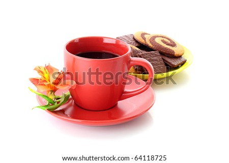 cup of coffee and cookies isolated on white