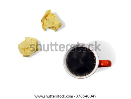 Cup of Coffee and Crumpled Yellow Note Paper on a White Background - stock photo