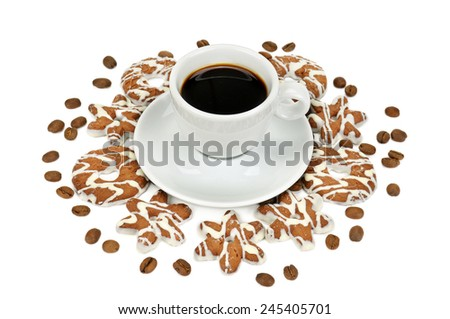 cup of coffee and pastry isolated on white background - stock photo