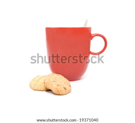 Cup of coffee and some delicious cookies - stock photo