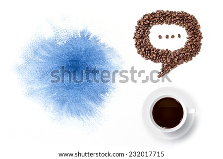 Cup of coffee and speech bubble of coffee beans with abstract watercolor brush background. - stock photo